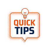 Quick tips advice with lightbulb on white background