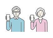 Senior men and women with smartphones