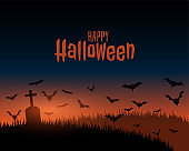 happy halloween spooky scene landscape with grass and grave