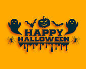 flat halloween card with ghost and flying bats