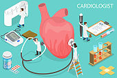 3D Isometric Flat Vector Conceptual Illustration of Cardiologist.
