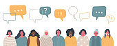 Women's community. International social concept. People icons with speech bubbles
