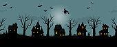 Halloween background. Spooky village. Seamless border