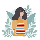 The girl is holding a stack of books. Student, schoolgirl, back to school, start of a new school year, study. Flat illustration.
