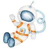 Astronaut in space suit, cosmonaut in helmet isolated watercolor illustration on white background, Spaceman funny cartoon kid astronout