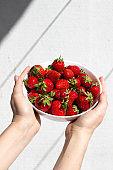 Fresh ripe strawberries in the hands ,diet Breakfast