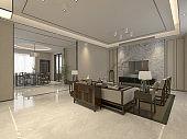 3d render. Modern living room interior scene.