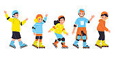 Girls and boys ride on roller skates. Kids enjoying summer vacation season together. Vector illustration in flat style.