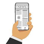 Newspaper on smartphone.