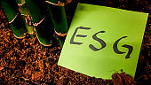ESG sticky note in soil among plant roots