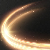 Luminous gold lines of speed. Light glowing effect. Abstract motion gold lines. Lighting equipment for advertising brochures, banners and materials