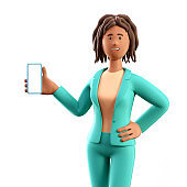 3D illustration of standing african american woman holding smartphone and showing blank screen. Cartoon smiling elegant businesswoman using phone, isolated on white background.