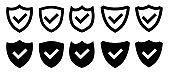 Security shield protected icon. line and glyph version, outline and filled vector sign. Shield with check mark linear and full pictogram. Symbol, logo illustration. Different style icons set.