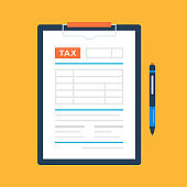 Tax form and pen. Clipboard and tax document. Accounting, bookkeeping concepts. Flat design. Vector illustration