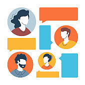 People and speech bubbles. Communication, social media, public chat, talking people concepts. Flat design. Vector illustration