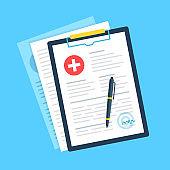 Medical clipboard, pen and signature. Health insurance, report, fill medical form concepts. Flat design. Vector illustration