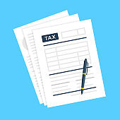 Tax form. Tax documents and pen. Taxation concepts. Modern flat design. Vector illustration