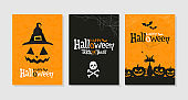Set of Happy Halloween greeting cards. Party invitations.