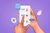 Human resource management and hiring concept. Job interview, recruitment agency vector illustration. 3D Vector Illustrations.