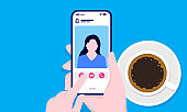 Video call early morning with coffee