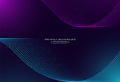 Abstract blue and pink wave lines background. Concept technology futuristic lines with light effect. Modern wave lines graphic creative design. Suit for cover, poster, advertising, banner, brochure, website