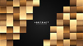 Abstract gold square shapes pattern on black background. Luxury gold geometric shapes creative design. Modern elegant square shapes element with shadow decoration. Vector illustration