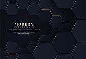 Modern hexagonal abstract metal background with gold light lines effect. Minimal composition with geometric shapes. Luxury futuristic technology background vector illustration. You can use for ad, poster, cover, banner