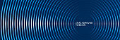 Abstract glowing neon circles lines on dark blue background. Modern simple texture creative design. Minimal style shiny circle lines element. Vector illustration
