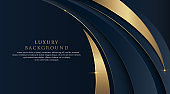 Dark blue abstract curve shape background with glitter golden lines. Luxury and elegant style template design. Modern simple geometric pattern element. Suit for cover, poster, brochure, banner, website, presentation