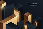 Abstract dark blue and gold geometric shapes background. Modern cubic blocks creative design. Luxury and elegant style graphic. Suit for cover, poster, banner, flyer, website, brochure