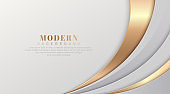 Abstract luxury white and gold curve background. Modern and elegant style template design with shadow decoration. Suit for cover, poster, advertising, website, flyer, brochure, presentation, banner