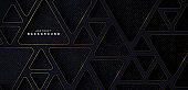 Abstract dark blue dimension background with glitter golden lines. Triangles with rounded corners. Texture with golden glitters dots element decoration. Luxury and elegant style graphic with shadow