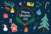 Christmas and New Year Set in Doodle Style. Gingerbread House, Christmas Tree, Gift Boxes, Snowman, Cup of Cocoa, Clapperboard, Candy, Swedish Dalahorse. Hand-drawn Vector Illustration. Flat design.