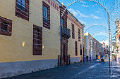 Narrow street in the old town at La Laguna, Tenerife, Canary islands, Spain.