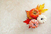 Autumn copmosition with colorful leaves, pine cones and pumpkins on bright background, copy space.