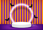Halloween scene background. Stage podium decorated with round shape lighting, bats, spider web. Pedestal scene with for product, advertising, show, award. Minimal style. Vector illustration.