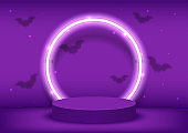 Stage podium decorated with round shape lighting, bats fly. Pedestal scene with for product platform, advertising, show, award, winner on purple background. Halloween background. Vector illustration.