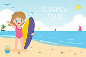 summer time banner template and cute surfer children character with surfboard on beach. Happy young surfer on the crest wave, flat vector illustration isolated on background