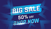 Illustration vector graphic Big sale modern promotional banner design template. Vector illustration