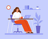 Woman working or studying online at home