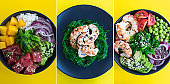 Collage of poke salad. Poke salad with seaweed in the black bowl on the yellow background.