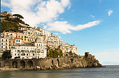 Panoramic view of the city and sea on the sunny day. Amalfi. Italy.