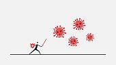 safety coronavirus ,blue barrier protecting Business man, coronavirus pneumonia infection, against the 2019 novel coronavirus pneumonia, global plague virus