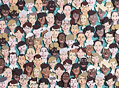 Background with lots of people's faces. 3D rendering illustration, paper cut effect. People of different ages and professional backgrounds