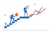 Businessman climbing up stairs and looking for the new business opportunities and professional growth. Business concept illustration