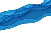 Blue abstract background in paper cut style. Layers of paper wavy water for World Oceans Day 8 June. Vector Earth posters template, ecology brochures, presentations, invitations with place for text