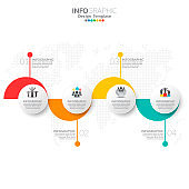 Business infographic elements with 4 options or steps.