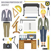 Profession and occupation set. Architect tools workplace equipment
