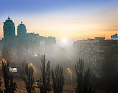 Morning fog in the municipal district