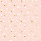 Vector Holiday or Birthday Seamless pattern. Hand Drawn doodle Stars. Starry sky background. Golden Pink Festive Background. Meteor Shower. Falling stars. Meteorites and Comets